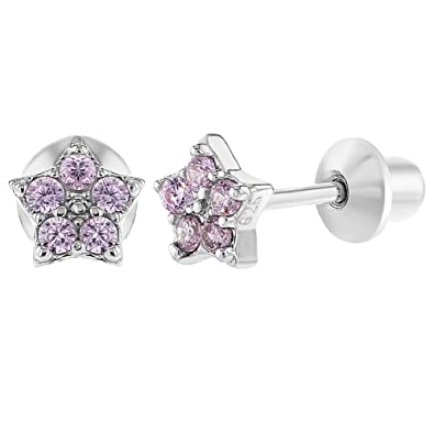 939b84dcd 925 Sterling Silver Pink CZ Star Earrings Safety Screw Back Baby Girl  Toddlers: Amazon.co.uk: Jewellery