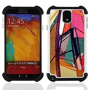 """SAMSUNG Galaxy Note 3 III / N9000 / N9005 - 3 en 1 impreso colorido de Altas Prestaciones PC Funda chaqueta Negro cubierta gel silicona suave (Arte brillante Colores Geometría"""")"""