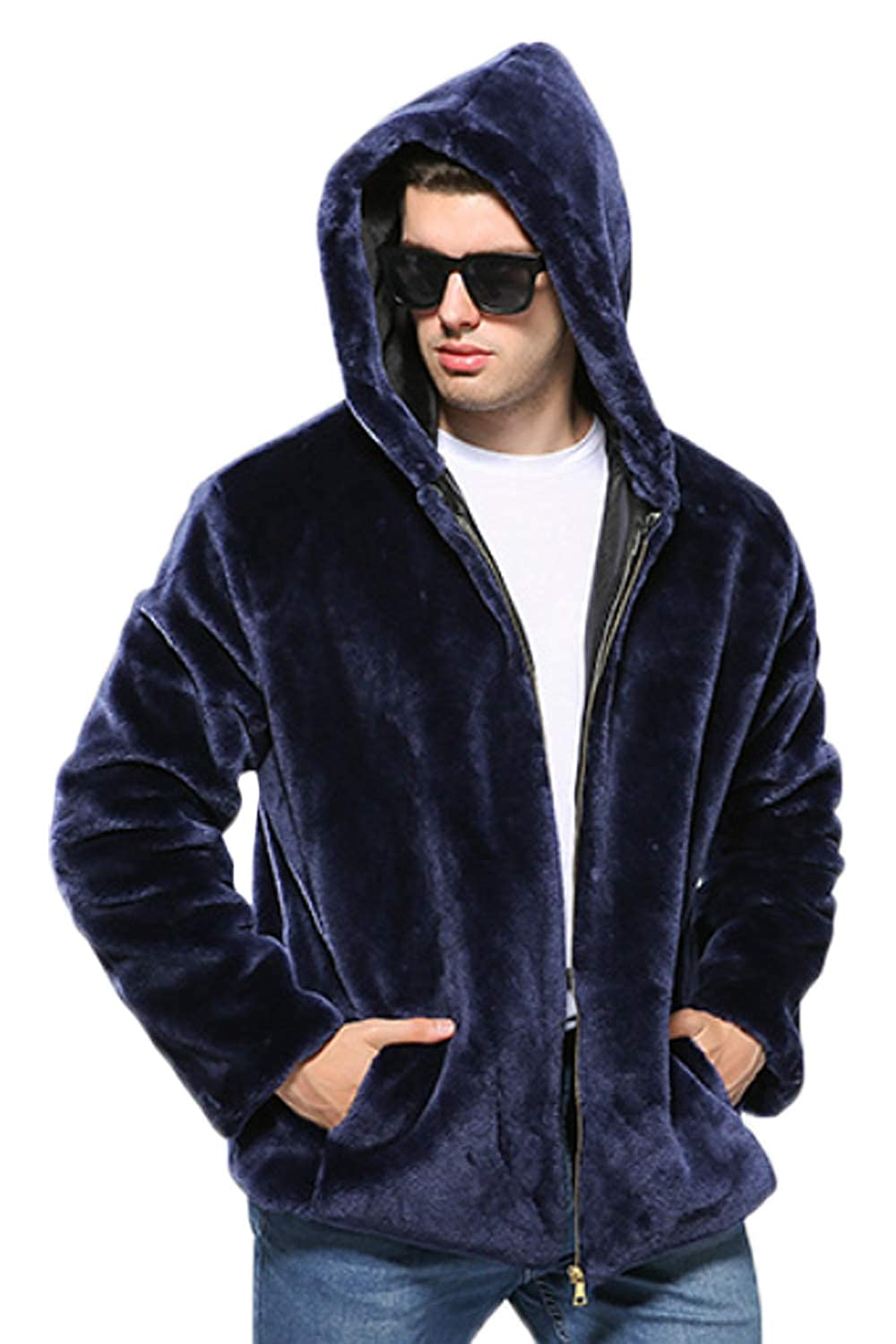 Zonsaoja Men's Faux Fur Coats Hooded Zipper Jackets Thick Warm Luxury Pocket