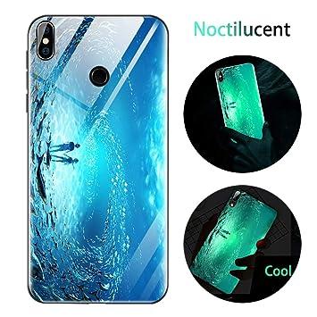 Funda Xiaomi Mi 8, Luminosa Silicona Funda para Xiaomi Mi 8, Carcasa con Dibujos Diseño TPU y PC Trasera Cristal Proteccion Antigolpes Noctilucent ...