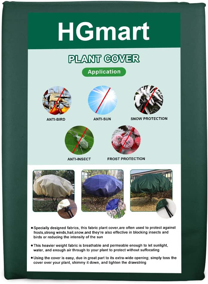 HGmart Round Frost Protection Plant Cover Fabric Frost Blanket Outdoor Shrub Jacket for Winter Frost Cold 0.95oz Dia6,Dark Blue