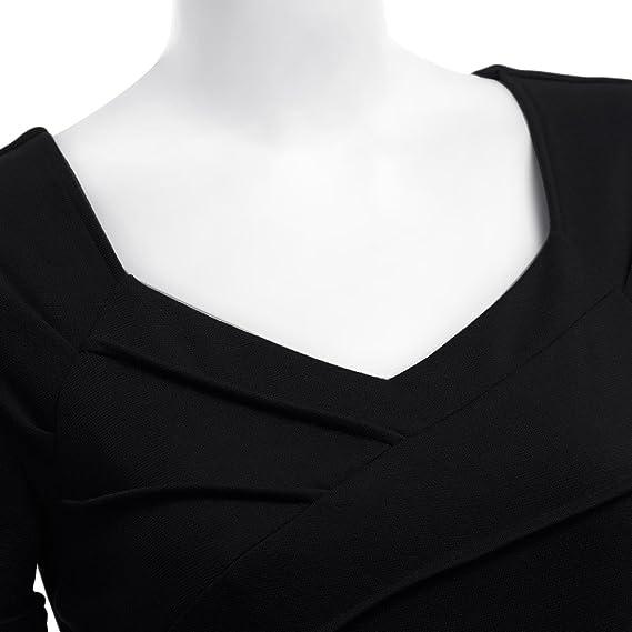 RoseGal - Vestido vintage (estilo de los años 40) con cuello de corazón negro negro M: Amazon.es: Ropa y accesorios