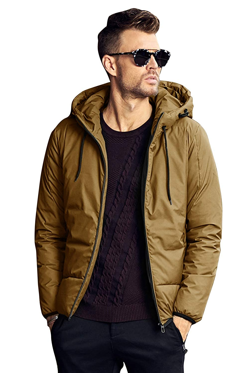 FLY HAWK Mens Down Puffer Jacket Hooded Packable Water Resistant Light Winter Coat