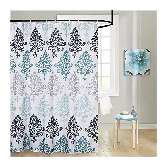 Uphome Fabric Shower Curtain Damask Print Ombre Design Boho Cloth Shower Curtains for Bathroom Ethnic Tribal, Heavy Weighted and Waterproof, 72 x 72 - [Durable Fabric] This fabric shower curtains crafted with premium fabric ensures long-lasting use. Classic Motif Boho design easy to update a luxury bathroom decor theme. [Raincoat Waterproof Technology] Raincoat waterproof technology making sure this is a water resistant bath curtain. It allowed water to easily glide off and resist soaking, work perfectly without a liner. [Weighted Hem] Uphome blue shower curtain customized with weighted hem than others holds up to daily use, keeps perfect drape and do not blow, offer you a cozily shower. - shower-curtains, bathroom-linens, bathroom - 61Cei7%2BszZL. SS570  -