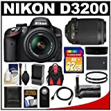 Nikon D3200 Digital SLR Camera and 18-55mm G VR DX AF-S Zoom Lens (Black) with 55-200mm VR Lens + 32GB Card + Case + Battery and Charger + Grip + HDMI Cable + Filters Kit, Best Gadgets