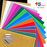 Mashup Glitter 12'x 10' Sheets Heat Transfer Vinyl Bundle 16 Assorted Colors Works with Silhouette Cameo,Cricut or Heat Press Machine,Iron-On HTV for T-Shirts Hats-Teflon & Weeding Tool Included