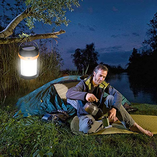 Solar Powered LED Camping Lantern-Solar or USB Chargeable, Portable Chargeable Collapsible LED Camping Lantern, Solar Tent Lamp Flashlight Emergency Charger for Hiking Camping Tent Hunting ( orange)