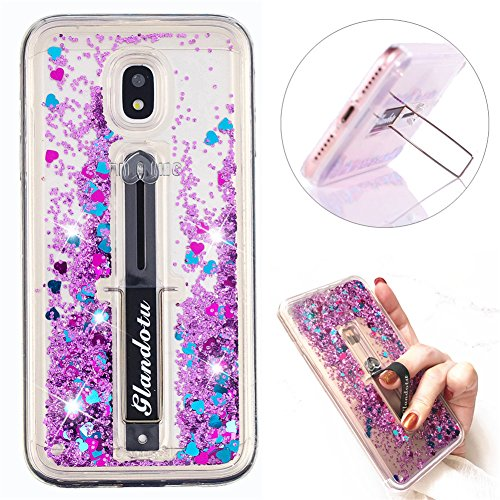J5 Pro Case Creative Flowing Liquid Glitter Quicksand Scalable Ring Buckle Shock Absorbing With Kickstand Feature Soft Bumper Protective Cover for Samsung Galaxy J5 Pro 2017 J530. Y Liquid Purple