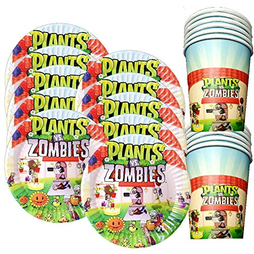 24CT Plants Versus Zombies PVZ PVSZ VS Party Set of Cups Plates Banner Party Supplies Decoration Theme Birthday