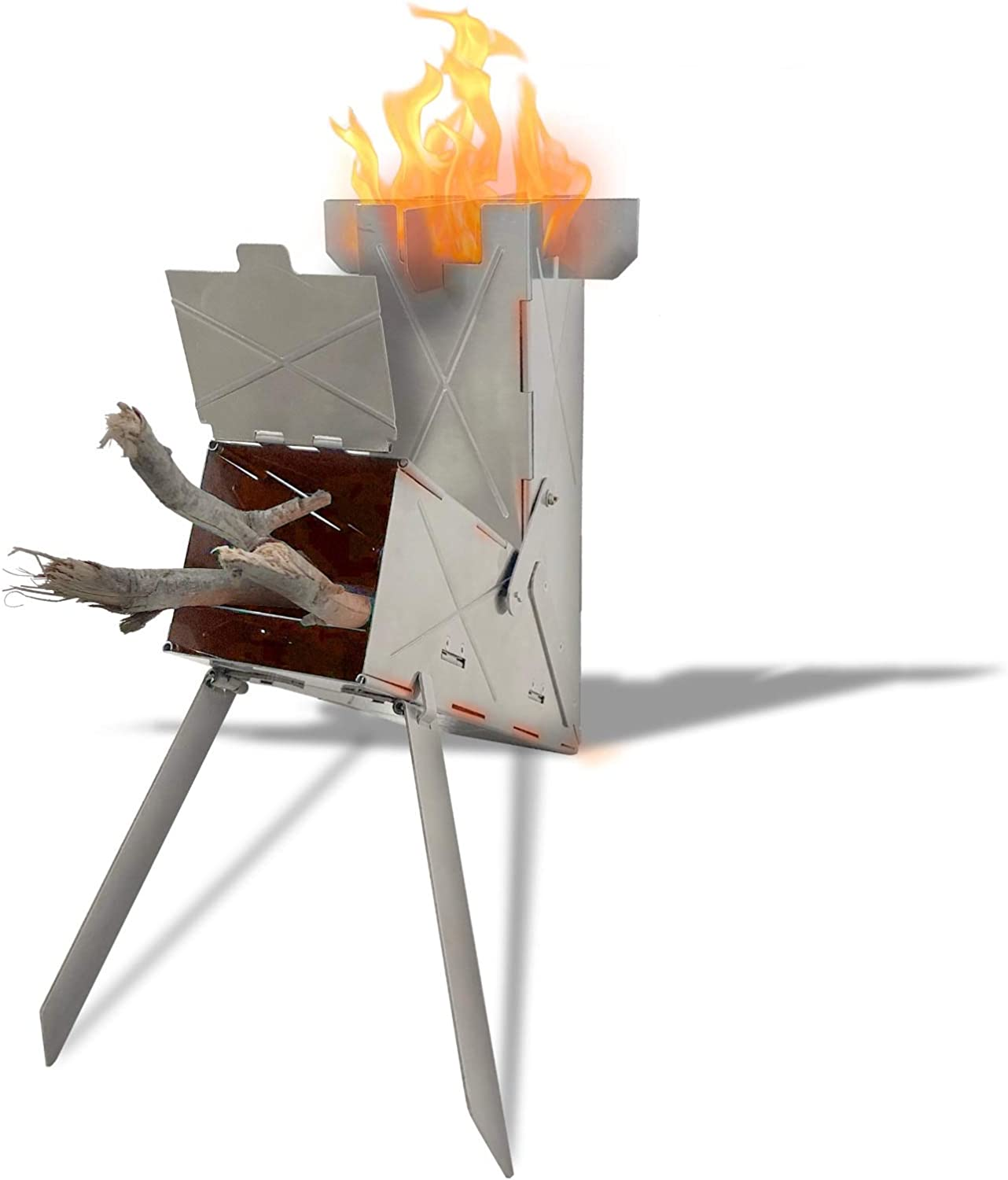 This is an image of a V-shaped stove supported by two foldable metal legs with fire coming out of it.
