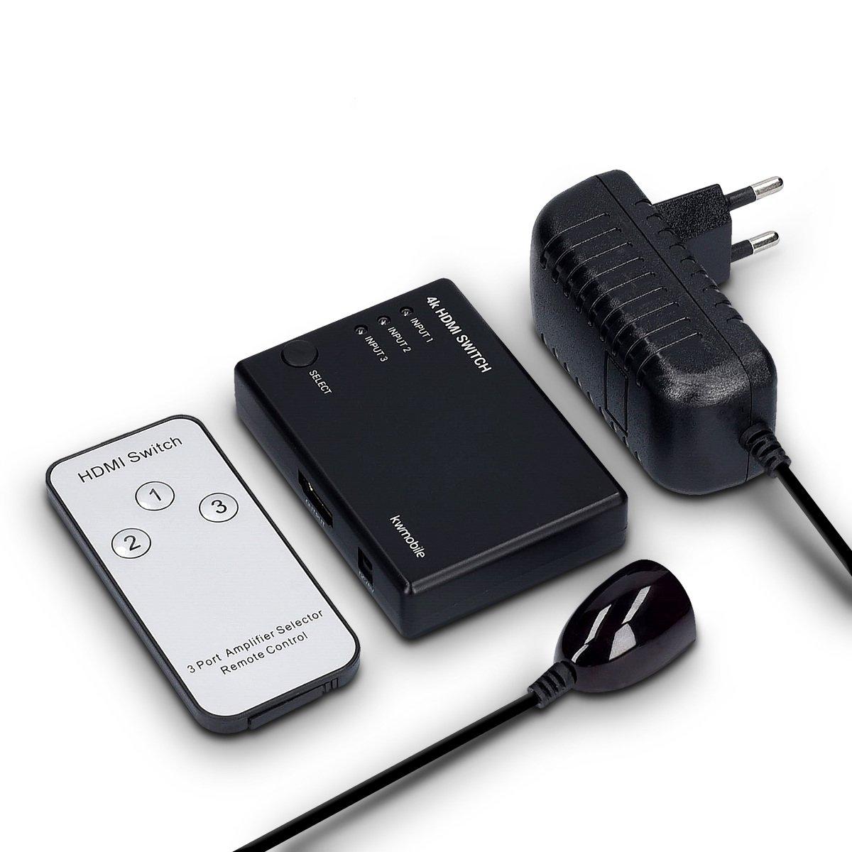 Switch 3 entr/ées 1 Sortie avec t/él/écommande IR HDCP 2.2 Full HD 3D 4k kwmobile Commutateur HDMI 2.0 3 Ports R/épartiteur 3x1 boitier Noir