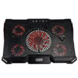 Mystery Gaming Laptop Ultrabook Cooler Cooling Stand Cooling Pad-Fits up to 17'' & Smaller Laptops Ultrabooks Notebooks - Strong Durable ABS & Metal Mesh - Keeps Your Laptop Cool (Black with Red)