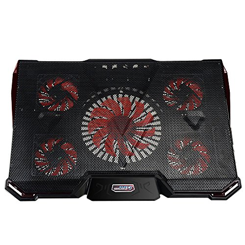 Price comparison product image Mystery Gaming Laptop Ultrabook Cooler Cooling Stand Cooling Pad-Fits up to 17'' & Smaller Laptops Ultrabooks Notebooks - Strong Durable ABS & Metal Mesh - Keeps Your Laptop Cool (Black with Red)