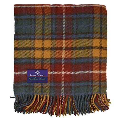 Prince of Scots Highland Tartan Tweed 100% Pure New Wool Throw ~ Antique Buchanan ~ (Wool Blanket Antique)