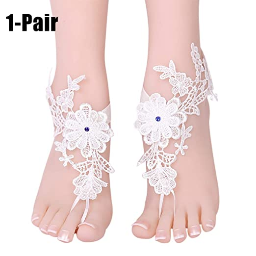 686b0e8384e83 Zoylink 1 Pair Barefoot Sandals Lace Flower Rhinestone Wedding ...