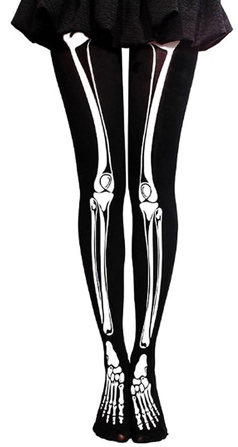 470024d17 Women Halloween Stockings Fancy Dress Accessories Cosplay Skeleton Print  Hold Up Stocking Knee-High Socks