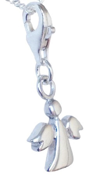 Sterling Silver Guardian Angel Clip On Charm B & W 14541