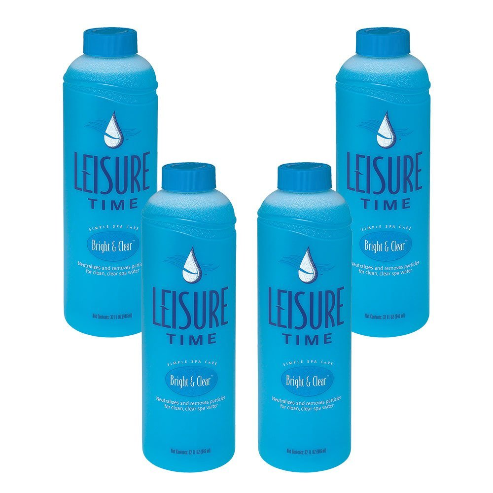 Leisure Time A-04 Bright and Clear Clarifier for Spas and Hot Tubs (4 Pack), 1 quart by LEISURE TIME
