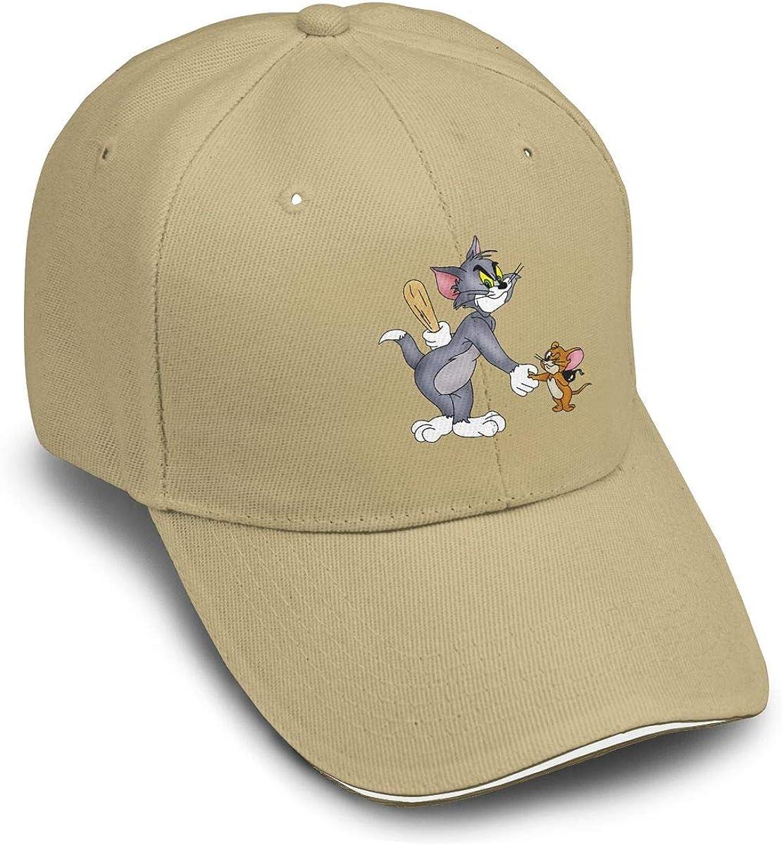 TicTicTok Tom Cat Jerry Mouse Men Women Thin and Adjustable Casquette White