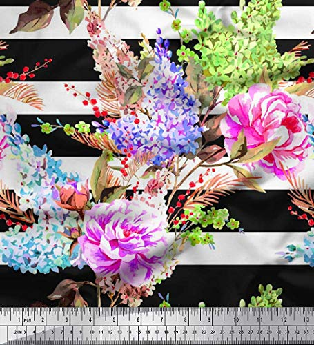 Soimoi Black Poly Georgette Fabric Stripe,Lavender & Peony Floral Printed Fabric 1 Yard 52 Inch Wide