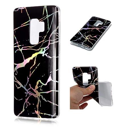 Funda Samsung S9 Plus Silicona mármol TPU Super Delgado Suave Carcasa de telefono Protección por JOYTAG-Negro
