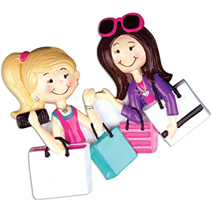 Christmas Present Ideas For Best Friends Girl.Personalized Shopping Friend Christmas Tree Ornament 2019 Fashionable Brunette Blonde Girls Love Shop Bag Present Gift Bff Best Friendship Hobby