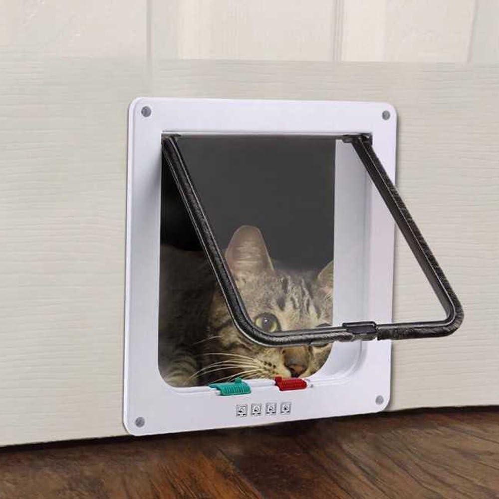 SaiKo 4 Way Lock Large Size Cat Door Cat Flap Door Magnetic Pet Door,Small Dog Door