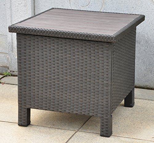 Cheap  Wicker Resin/Aluminum Patio Side Table with Storage