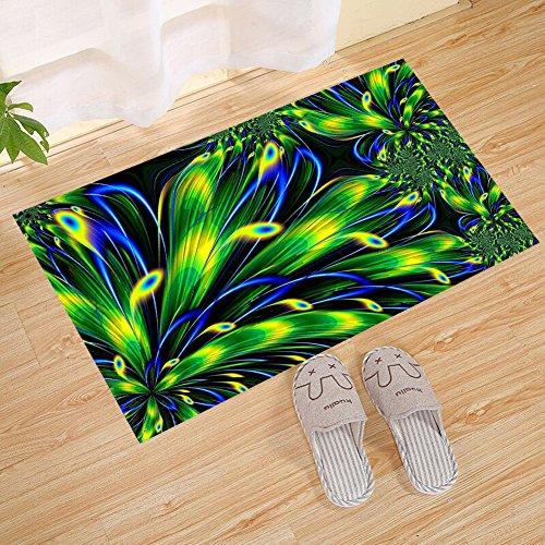 Animated Style Peacock Feather Eye Blue Green Color Line Ecological Decoration Small Door Mat, Door Mat Art Door Mat Carpet Indoor/Outdoor/Front Door/Bathroom Mat Bedroom Door Mat