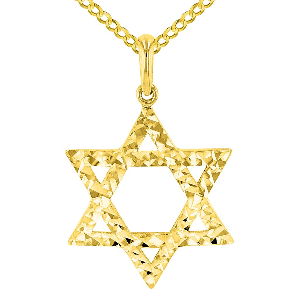 Solid 14k Yellow Gold Textured Hebrew Star of David Pendant Cuban Necklace, 24''