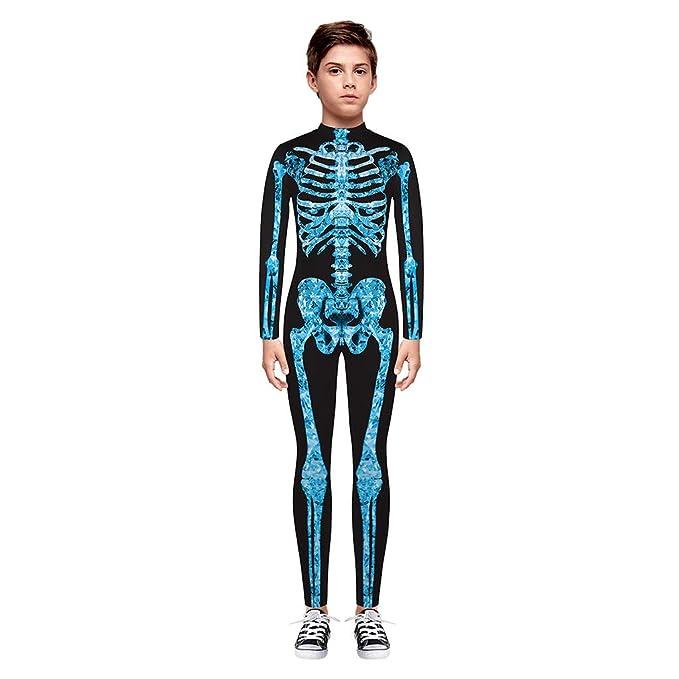Divertido Pijama,K-Youth Mameluco Adolescente Chica Chico Disfraz Halloween Esqueleto Body Bebe Niña Manga Larga Ropa Bebe Niño Invierno Bodies Niños ...