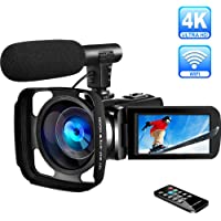 4K Camcorder Video Camera Ultra HD WiFi Camcorders with Microphone Digital Camcorder Full HD 30.0MP IR Night Vision Vlogging camera 16X Digital Zoom 3.0 inch Touch Screen with Lens Hood