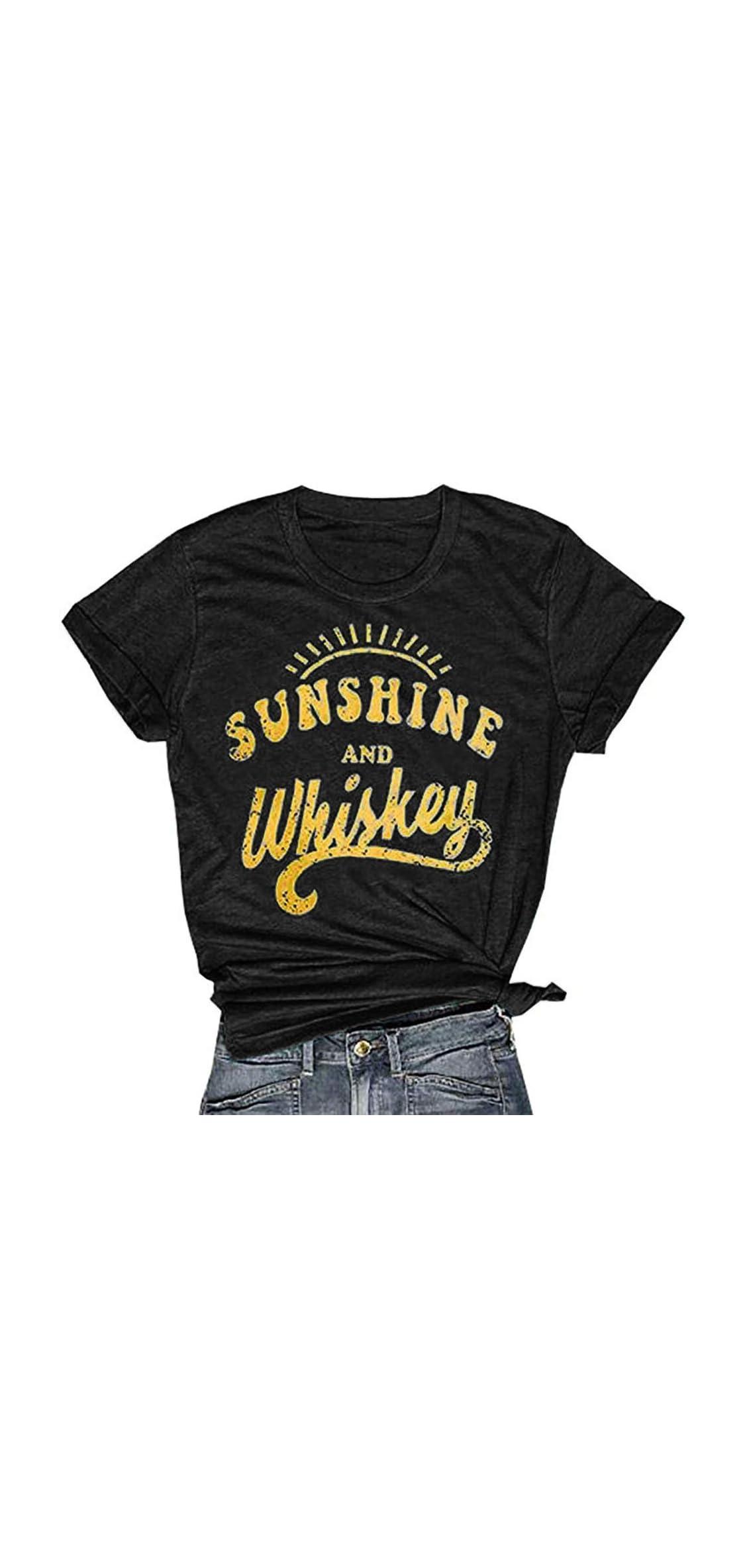 Womens Sunshine And Whiskey T-shirt Casual Beach Music