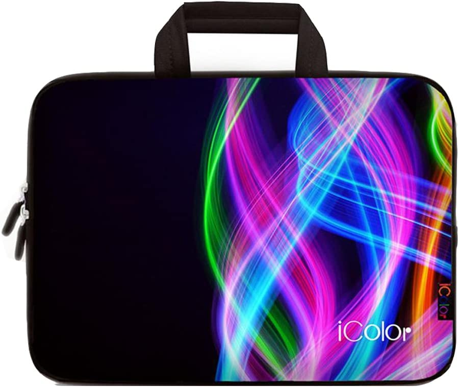 ICOLOR Colorful Line 14.5 15 15.4 15.6 Inch Laptop Carrying Bag Neoprene Travel Briefcase Cover Portable Chromebook Ultrabook Sleeve Case with Handle Fits 14.5-15.6 Inch Notebook/Netbook(IHB15-04)
