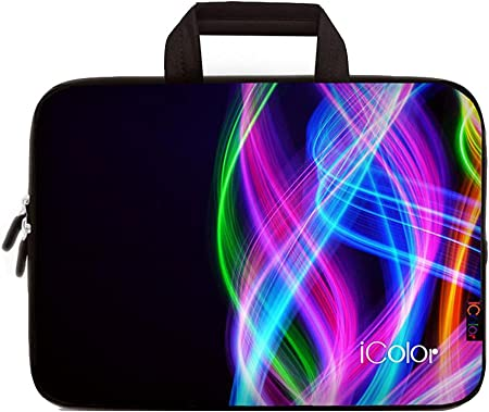 C COABALLA Laptop Bag Blue,Magical Nature Themed Ornaments Swirled Laptop Sleeve Bag Water-Resistant Protective Case Bag Compatible with Any Notebook AM021185 15 inch//15.6 inch
