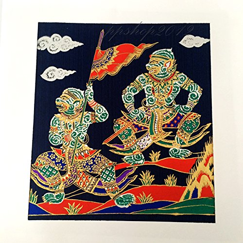LITERATURE HANUMAN STORY - THAI ART SILK SCREEN FABRIC NO FRAME PICTURE DECOR by Patarisa