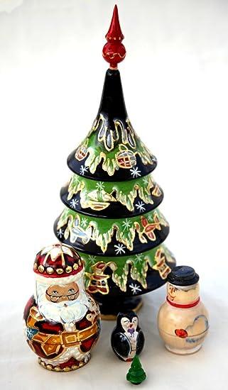 premium large 5 piece christmas tree russian doll set