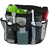 Attmu Mesh Shower Caddy, Quick Dry Shower Tote Bag Oxford Hanging Toiletry and Bath Organizer with 8 Storage Compartments for Shampoo, Conditioner, Soap and Other Bathroom Accessories, Black