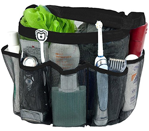 Attmu Mesh Shower Caddy, Quick Dry Shower Tote Bag Oxford Hanging Toiletry and Bath Organizer for Shampoo, Conditioner, Soap and Other Bathroom Accessories, Black
