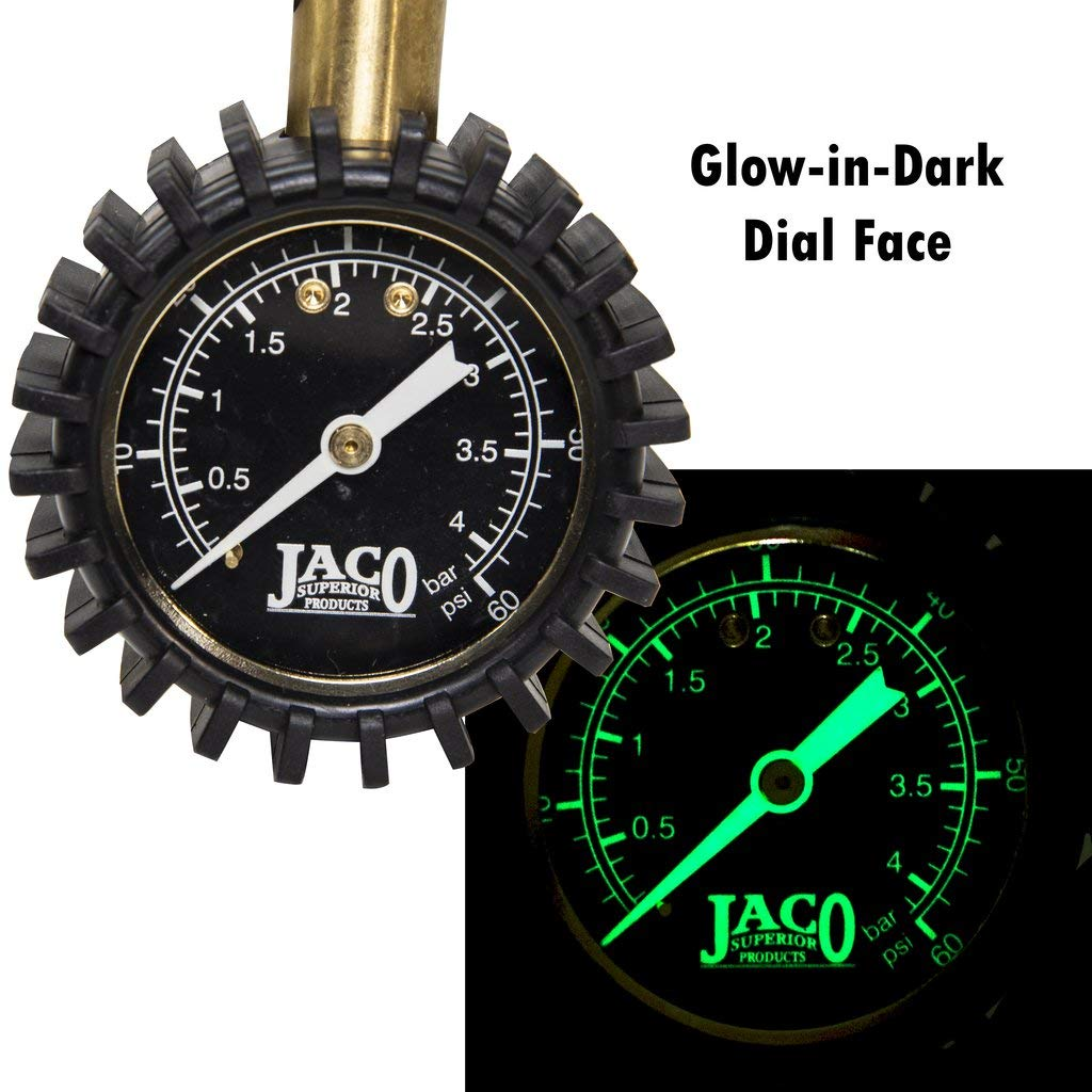 For Mountain Bikes /& Autos JACO Superior Products Jaco Bikepro Presta Tire Pressure Gauge 60 Psi With Interchangeable Schrader Valve Air Chuck