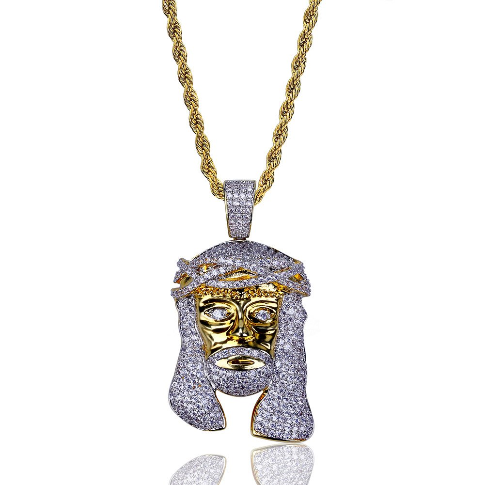 TOPGRILLZ Men 14K Gold Plated Iced Out CZ Simulated Diamond Big Stones Crown Jesus Piece Pendant Necklace with Stainless Steel Chain Hip Hop