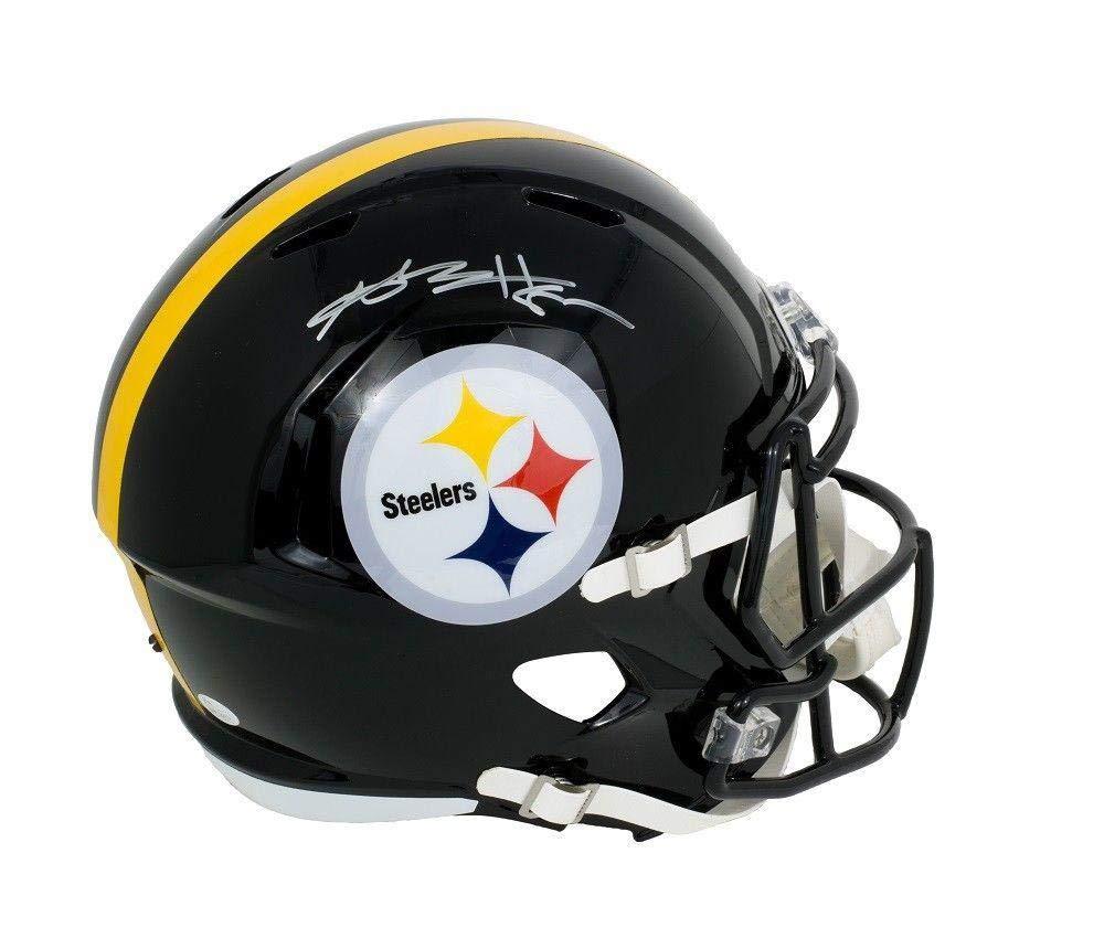 Autographed Antonio Brown Helmet - Full Sz Speed Replica Silver - JSA Certified - Autographed NFL Helmets Sports Memorabilia