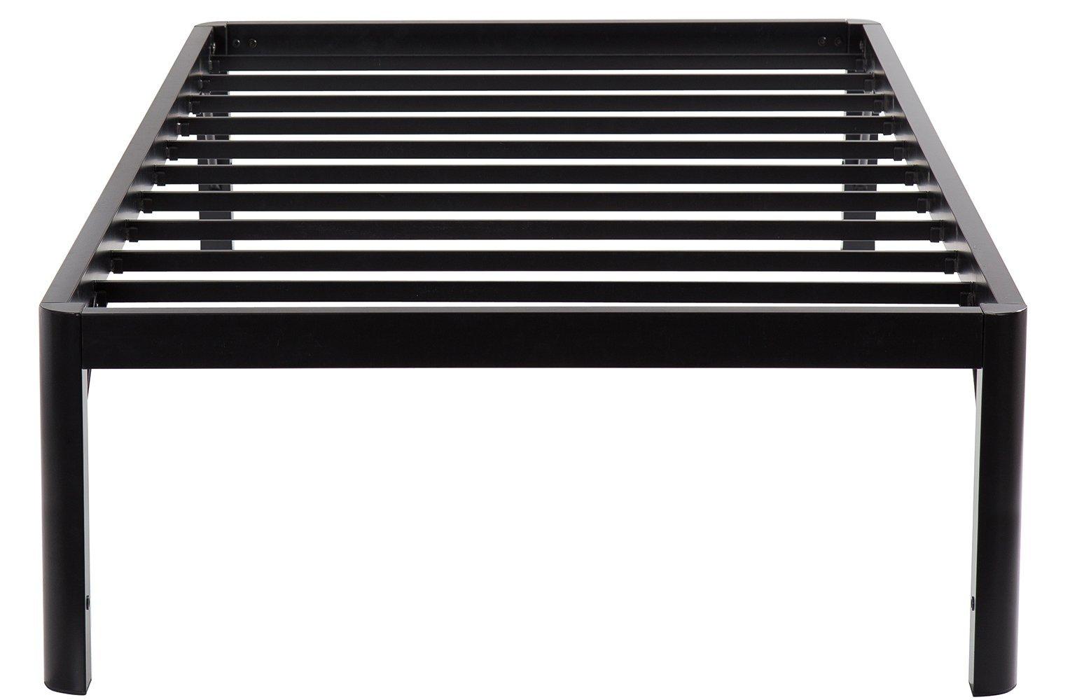 Olee Sleep 18inch Tall Round Edge Steel Slat / Non-slip Support High Profile Platform Bed Frame, Twin