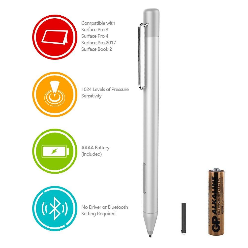 HP Digital Pen Active Stylus HP Spectre x360 13-AC023DX, X2 12-C012DX, 13-AC013DX, 13-AC033DX, 15-BL012DX, 15-BL112DX, HP Envy 360 15M-BP012DX, HP Pavilion X360 11M-AD013, 14M-BA013DX (Silver)