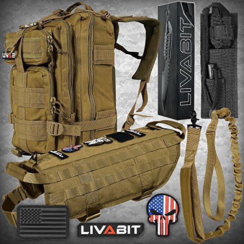 LIVABIT [ Tan Canine Gear Service Dog Tactical Molle Vest Harness 3 Day Backpack Paracord Tanto Knife Morale PVC Patches Bungee Leash Strap Large ()