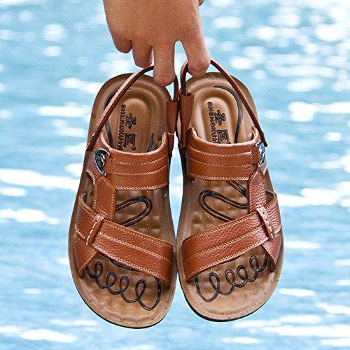 Estivi Sportivi Brown Sandali Infradito HGDR In Infradito Pelle Sandali Da Uomo Sandali Comfort Da Spiaggia Sandali Bq7w6