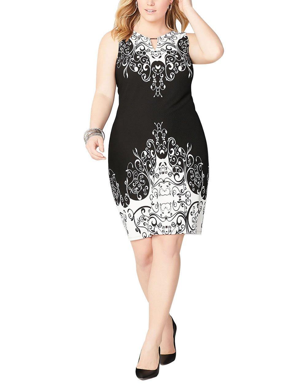 CACNCUT Women's Plus Size Dresses Sleeveless Printed Summer Dresses Office Clothing Elegant 3XL