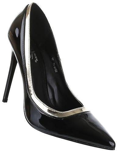 Frauen High Heels mit 11 cm Stiletto-Absatz in Blau und Größe 40 Klassische Abendschuhe in Lacklederoptik U39V7v5X