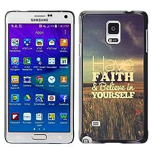 Tenga fe campos Vignette motivación - Metal de aluminio y de plástico duro Caja del teléfono - Negro - Samsung Galaxy Note 4