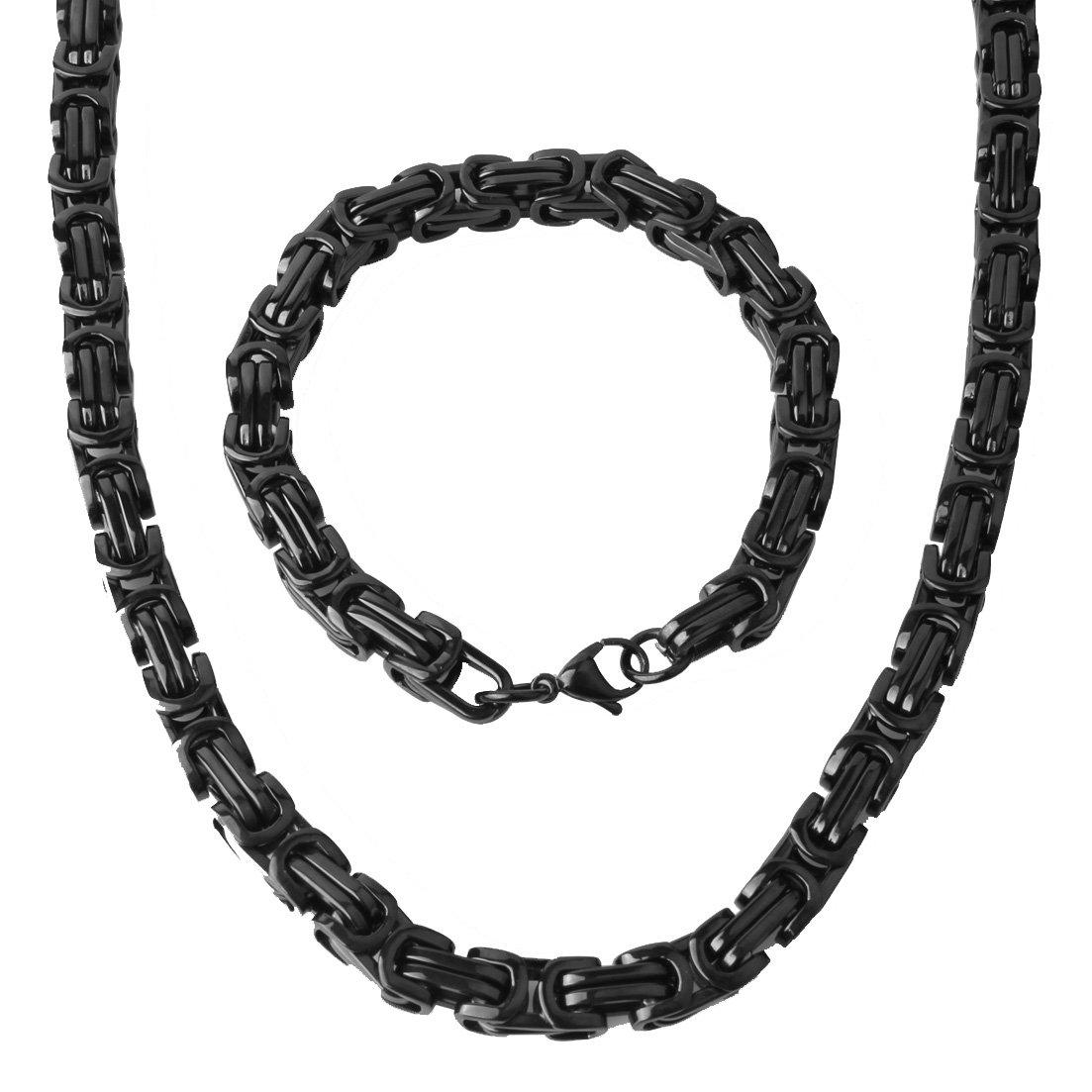 Mens Stainless Steel Mechanic Bracelet Necklace Link Byzantine Chain Set Black color